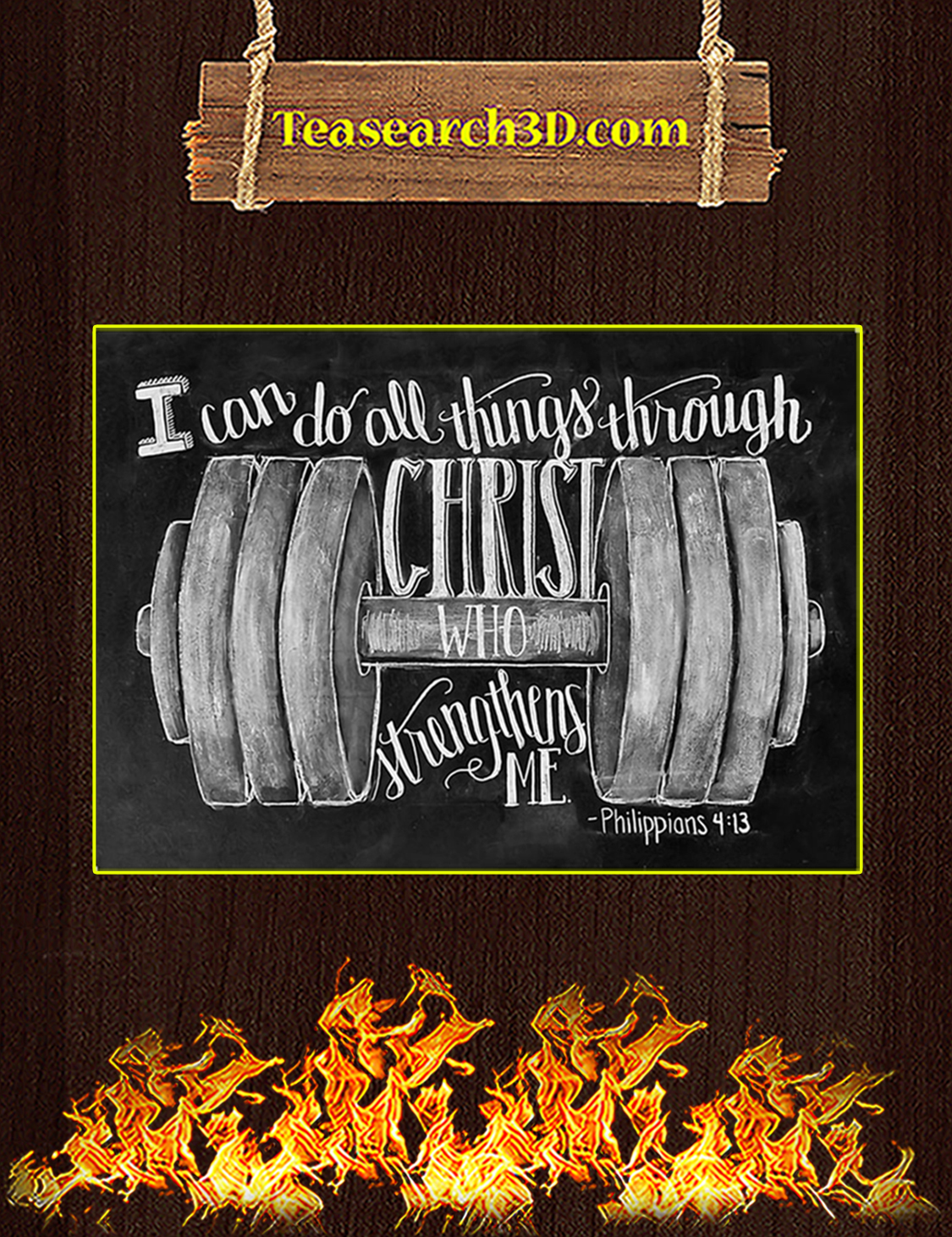 Fitness I can do all things through christ who strengthens me poster A3