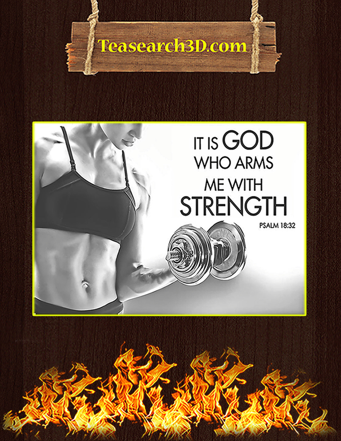 Fitness it is god who arms me with strength poster A1