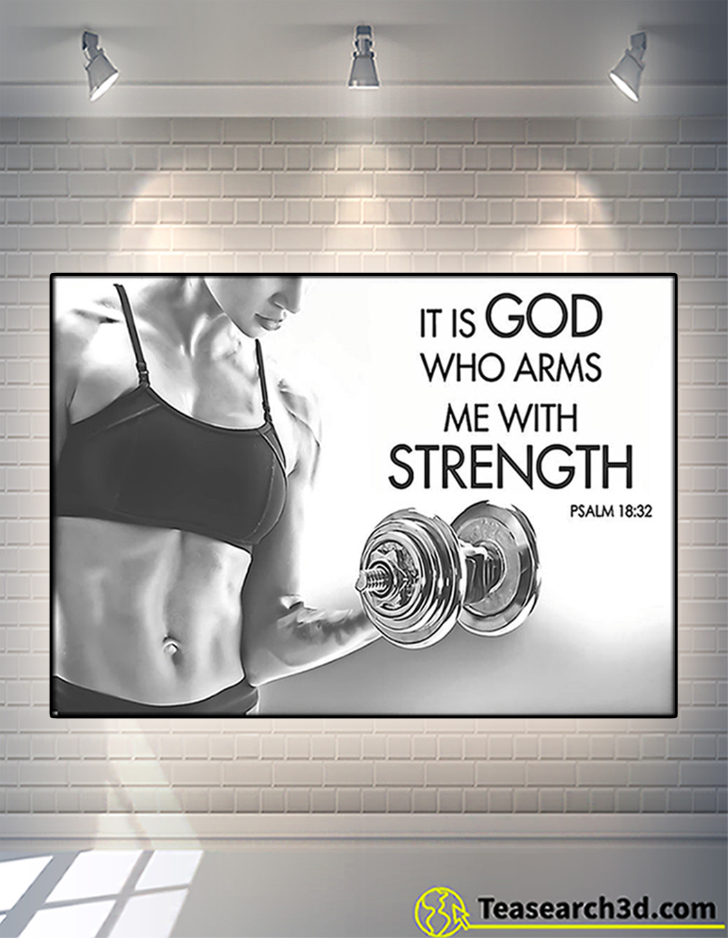 Fitness it is god who arms me with strength poster A2