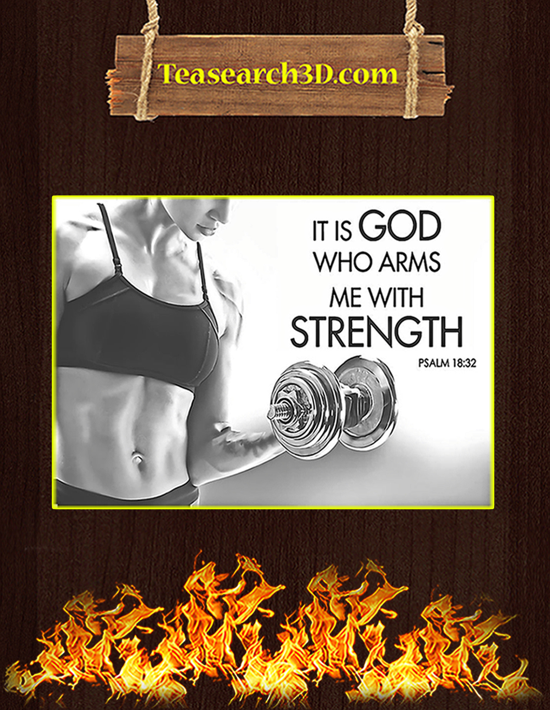 Fitness it is god who arms me with strength poster A3
