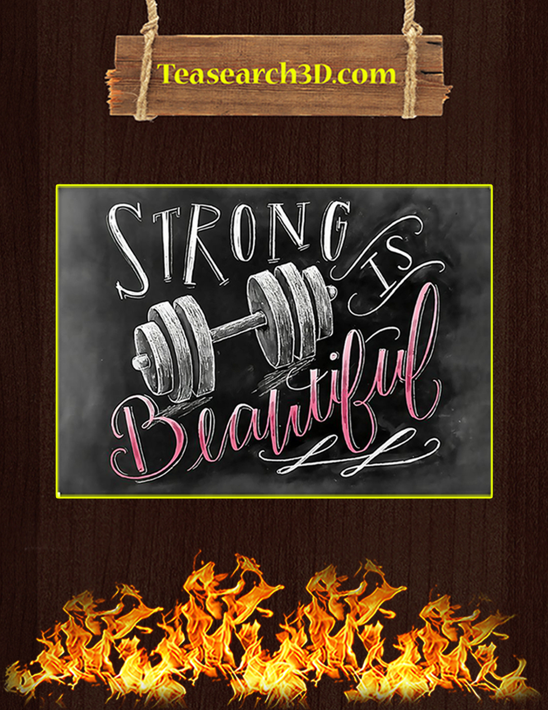 Fitness strong is beautiful poster A3