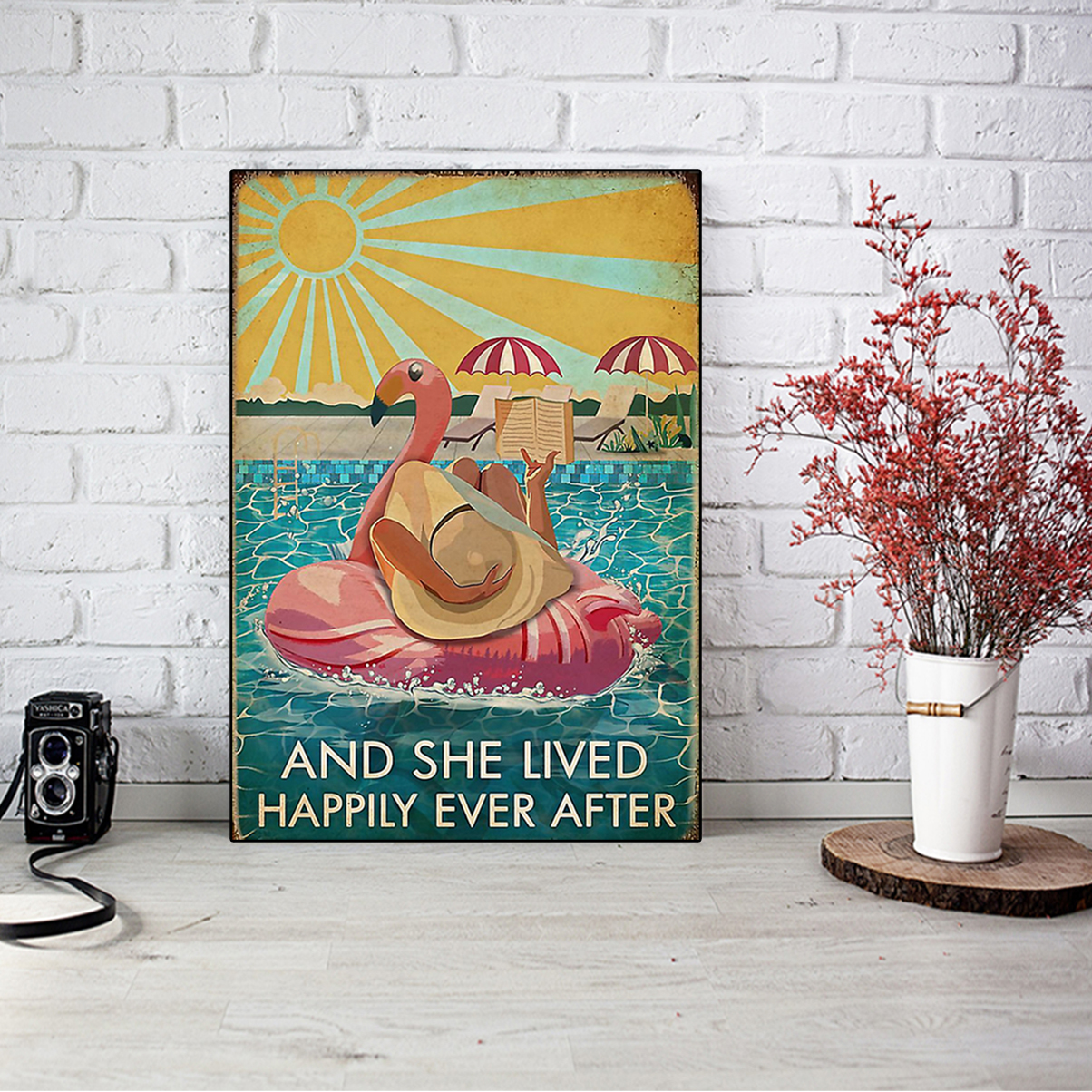 Flamingo and she lived happily ever after book poster A1