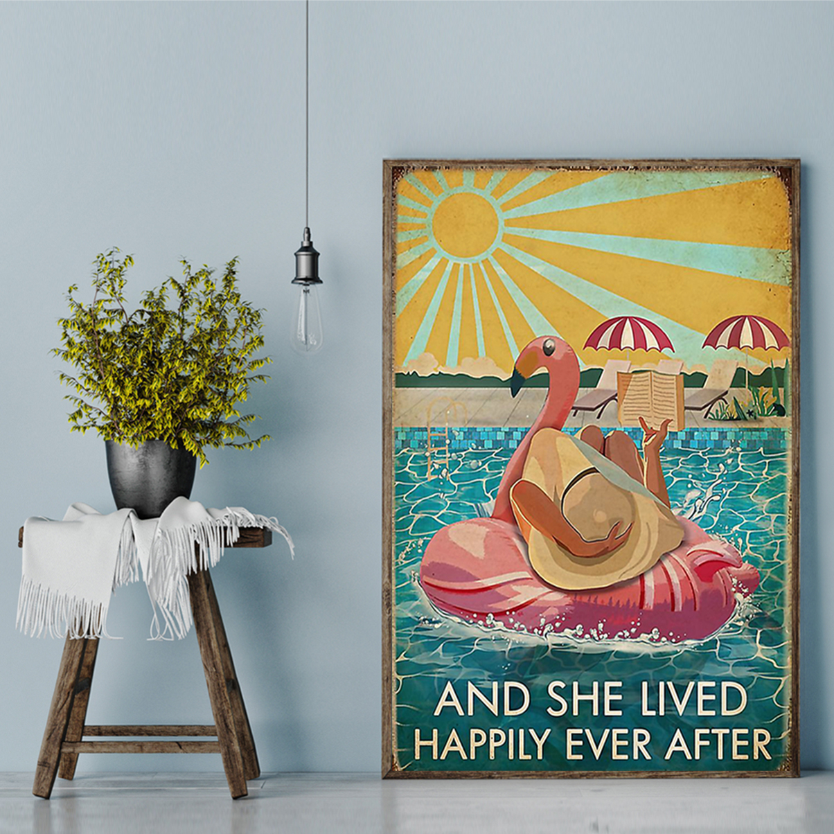 Flamingo and she lived happily ever after book poster A2