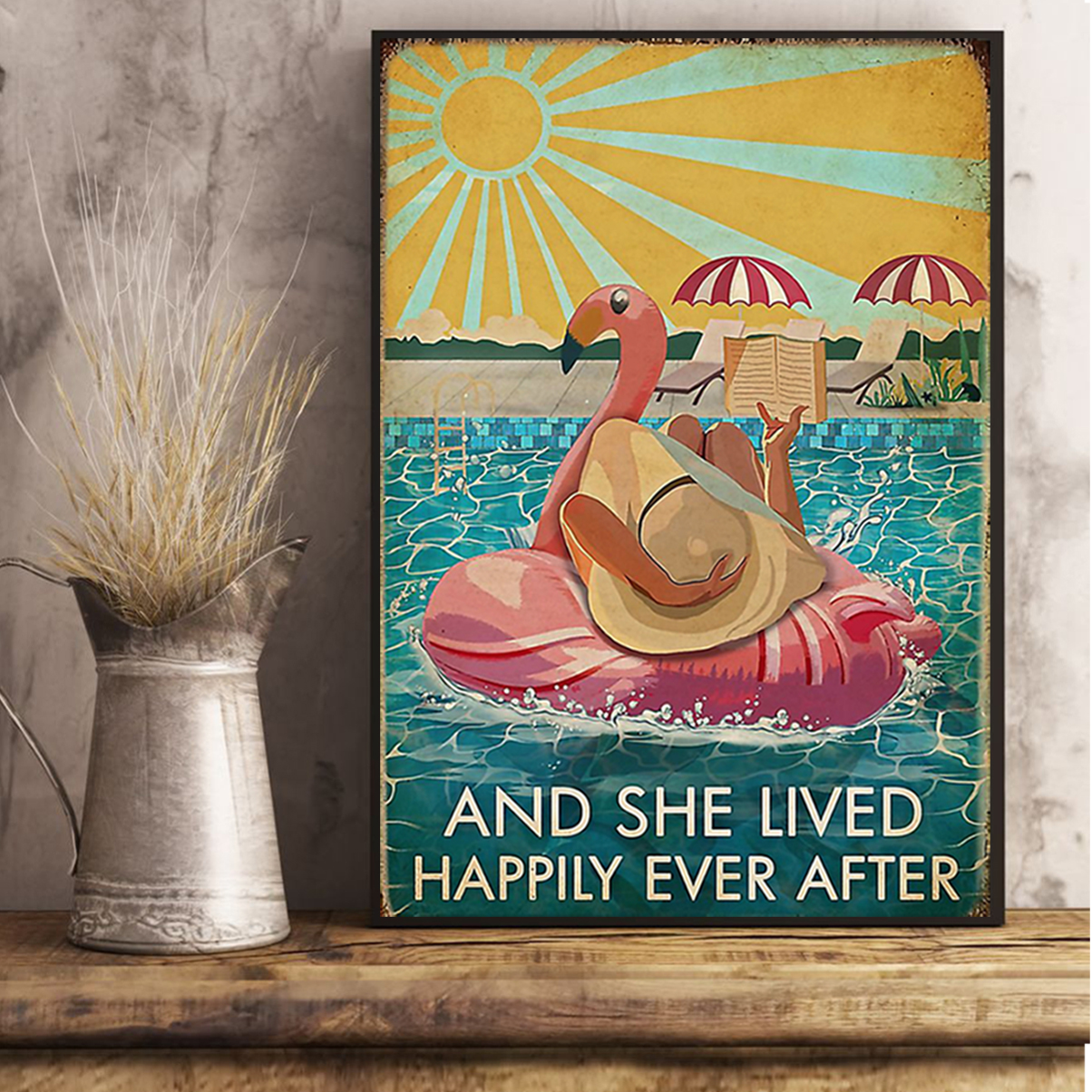 Flamingo and she lived happily ever after book poster A3