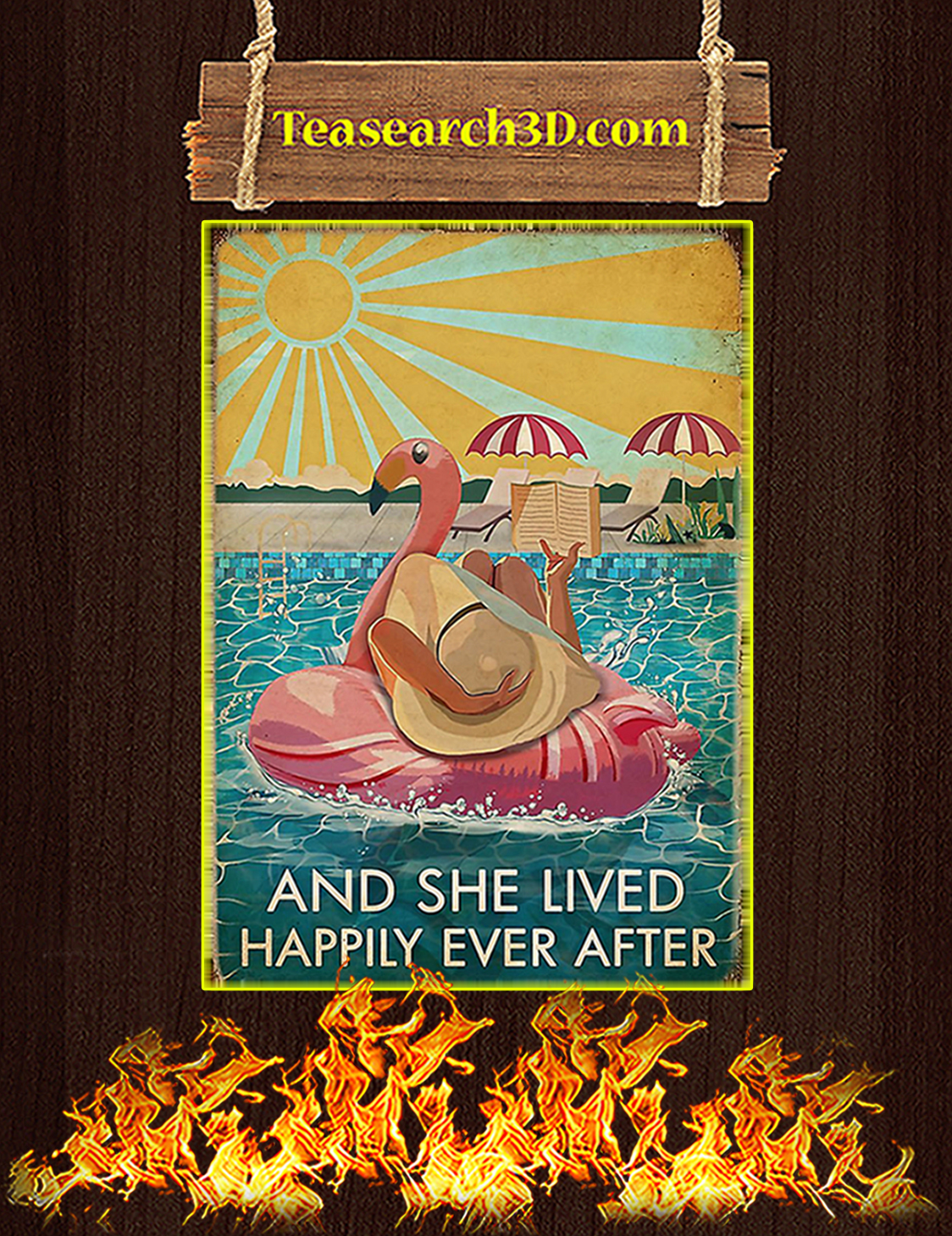 Flamingo and she lived happily ever after poster A3