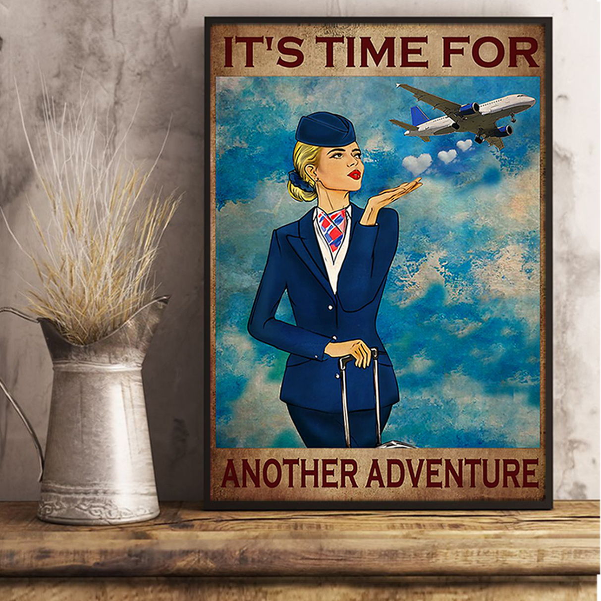 Flight attendant it's time for another adventure poster A2