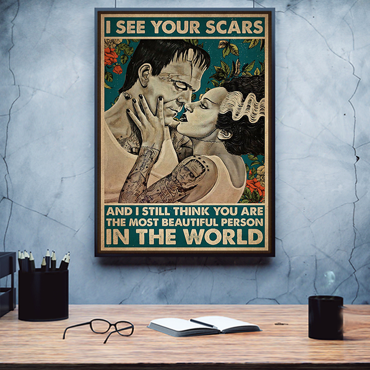 Frankenstein and bride I see your scars poster A2