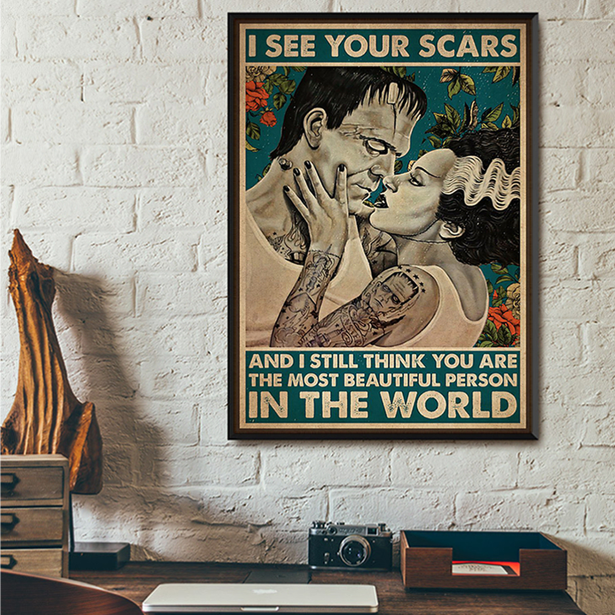 Frankenstein and bride I see your scars poster A3