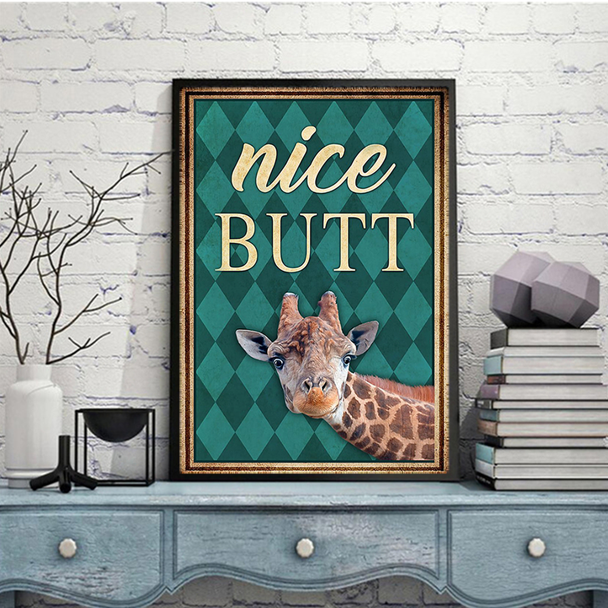 Giraffe Nice Butt Poster A3