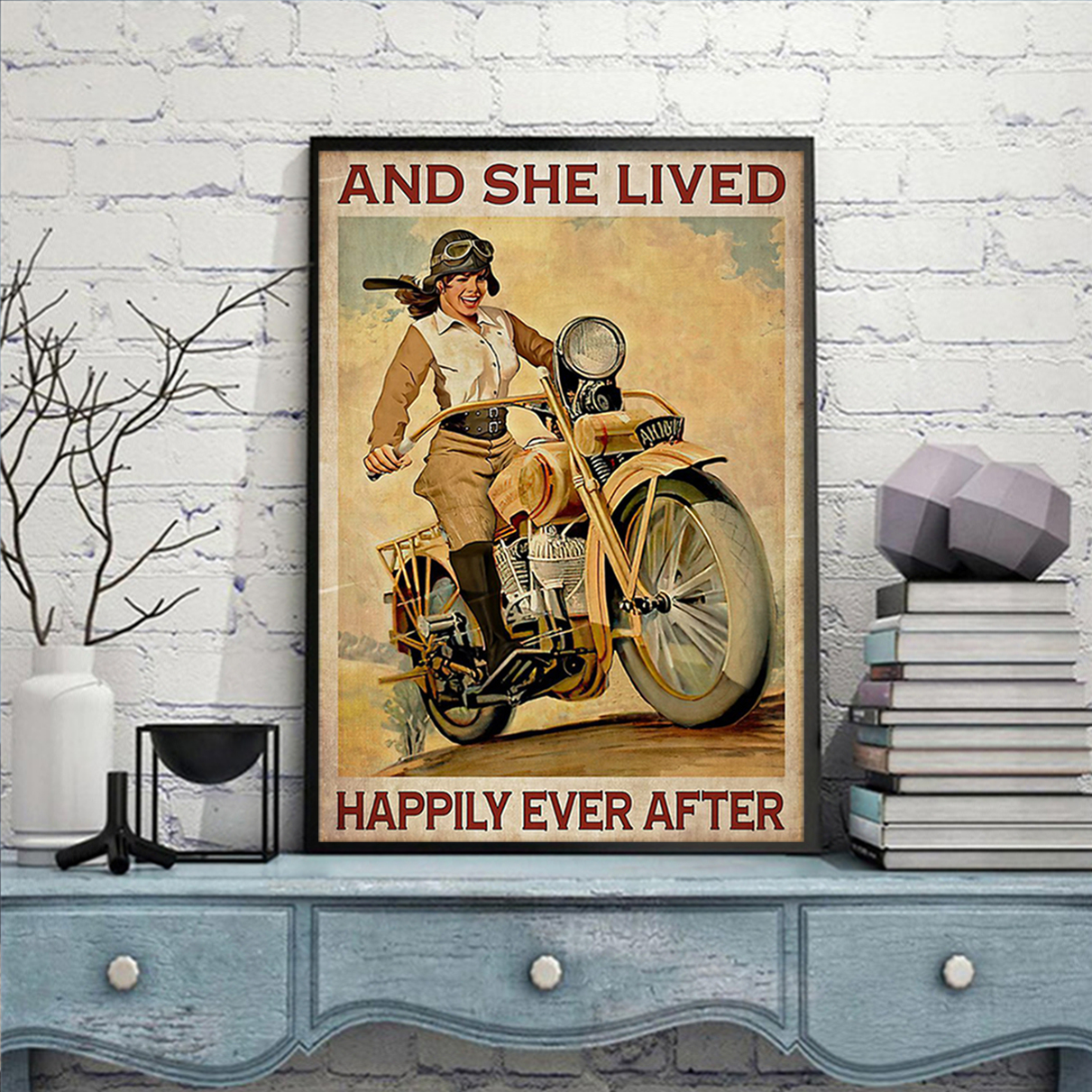Girl with motorcycle and she lived happily ever after poster A2