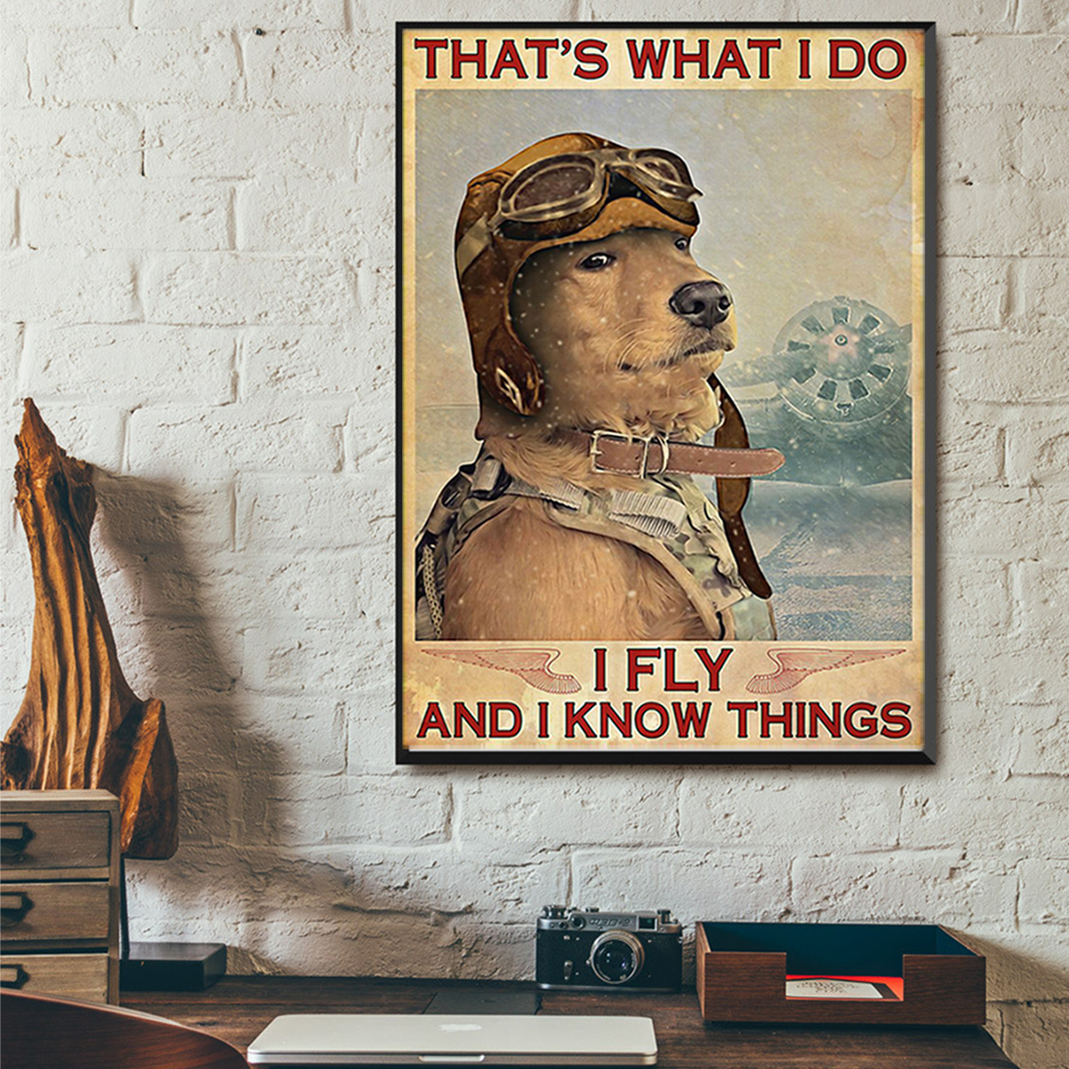 Golden retriever that's what I do I fly and I know things poster A2