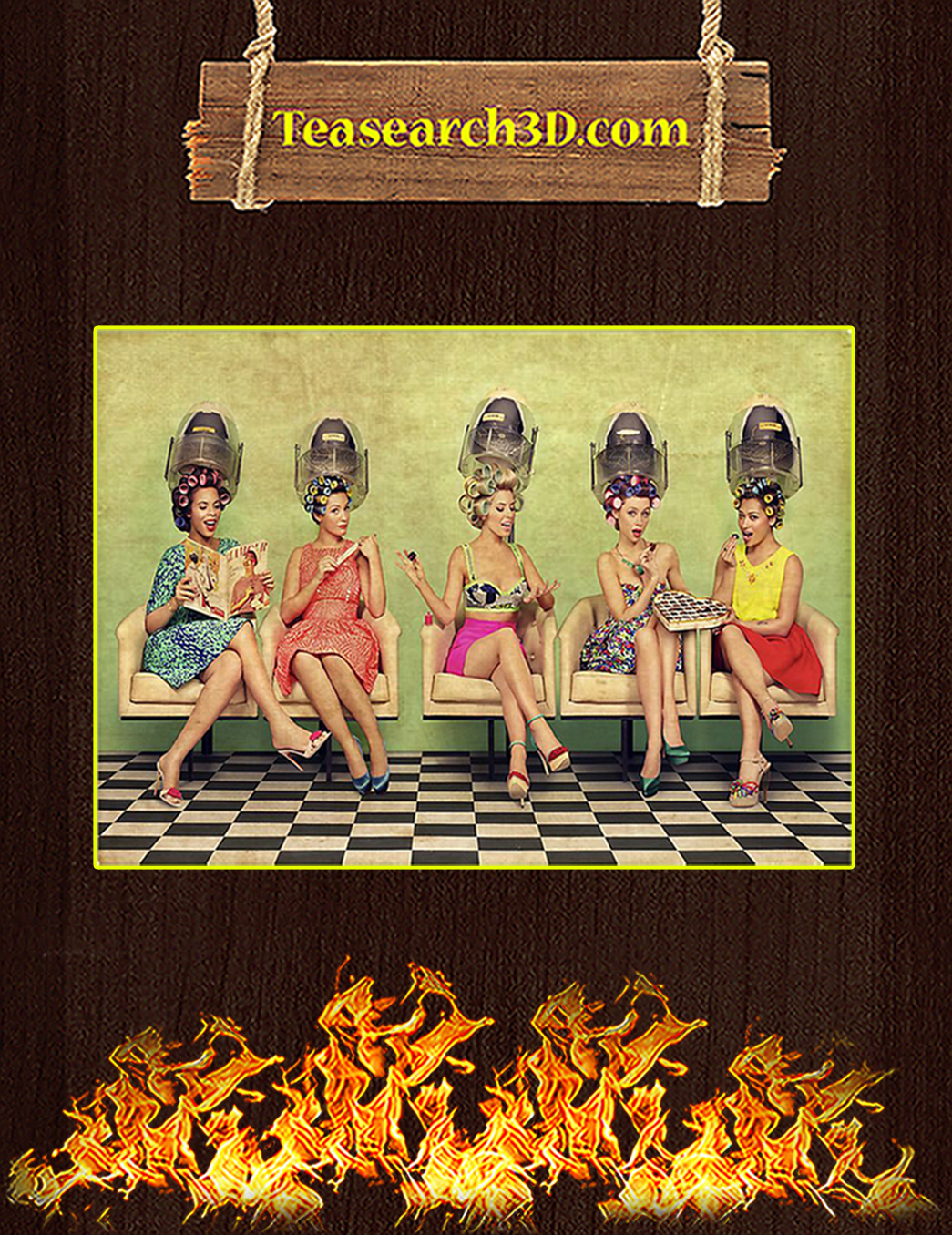 Hairdresser ladies doing hair poster A1