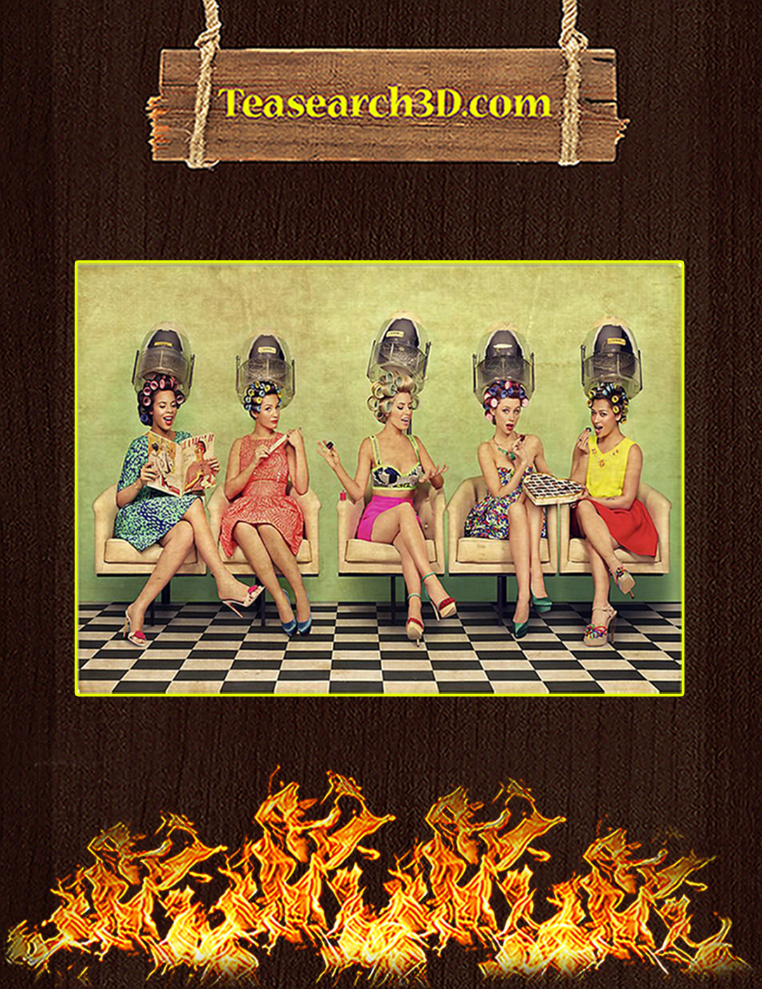 Hairdresser ladies doing hair poster A2