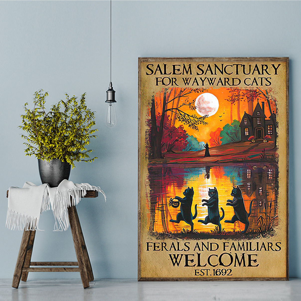 Halloween salem sanctuary for wayward cats ferals and familiars welcome poster A1