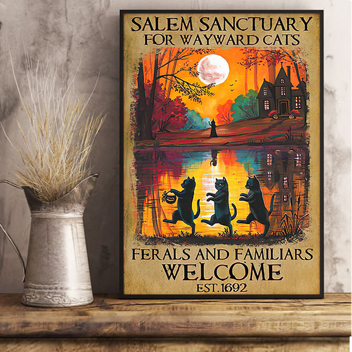 Halloween salem sanctuary for wayward cats ferals and familiars welcome poster A2