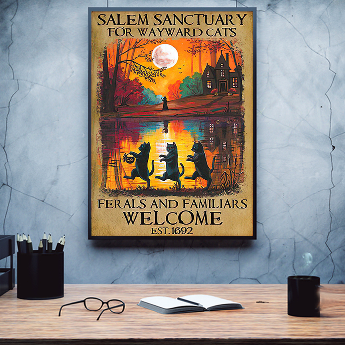 Halloween salem sanctuary for wayward cats ferals and familiars welcome poster A3