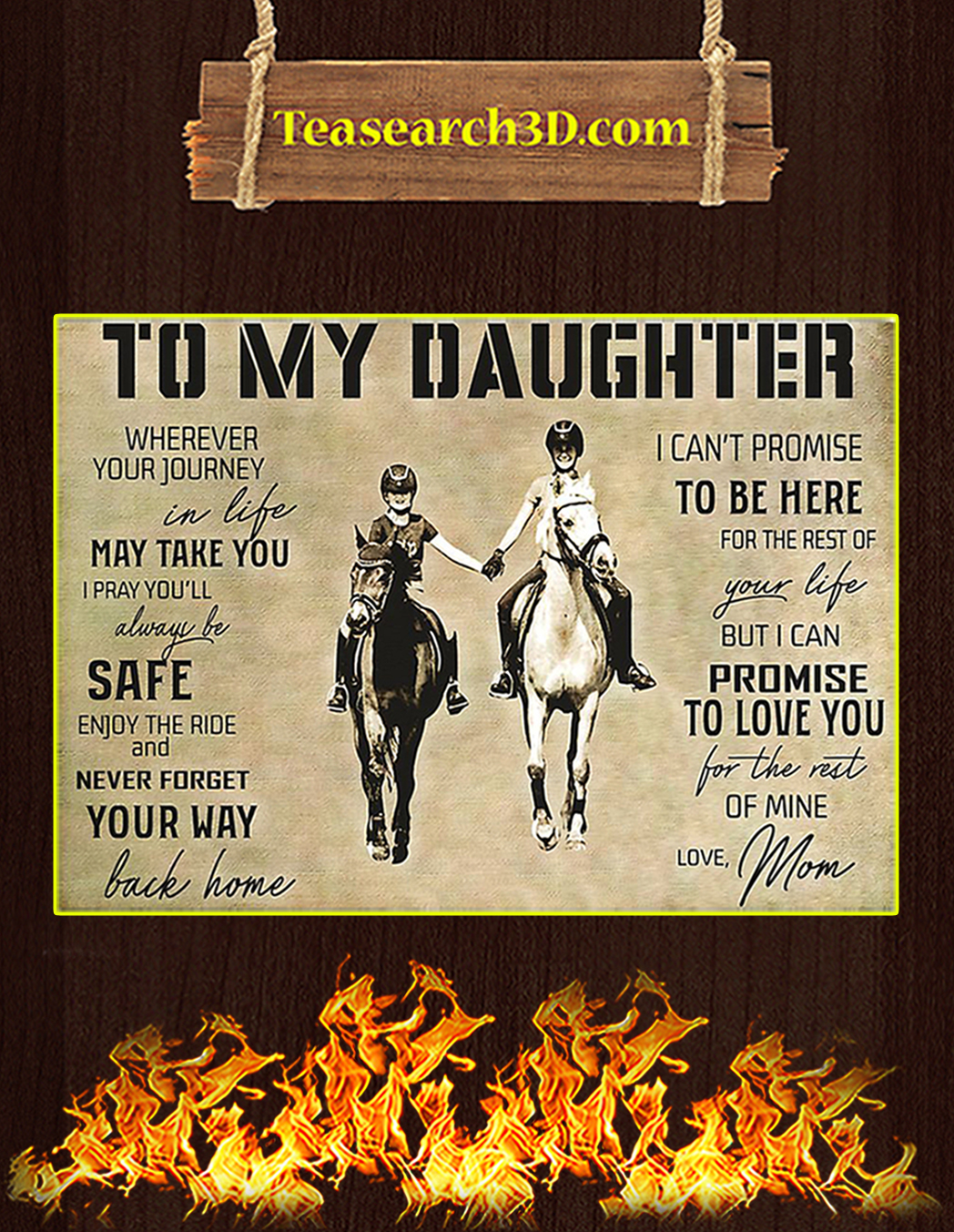 Horse To My Daughter Love Mom Poster A1