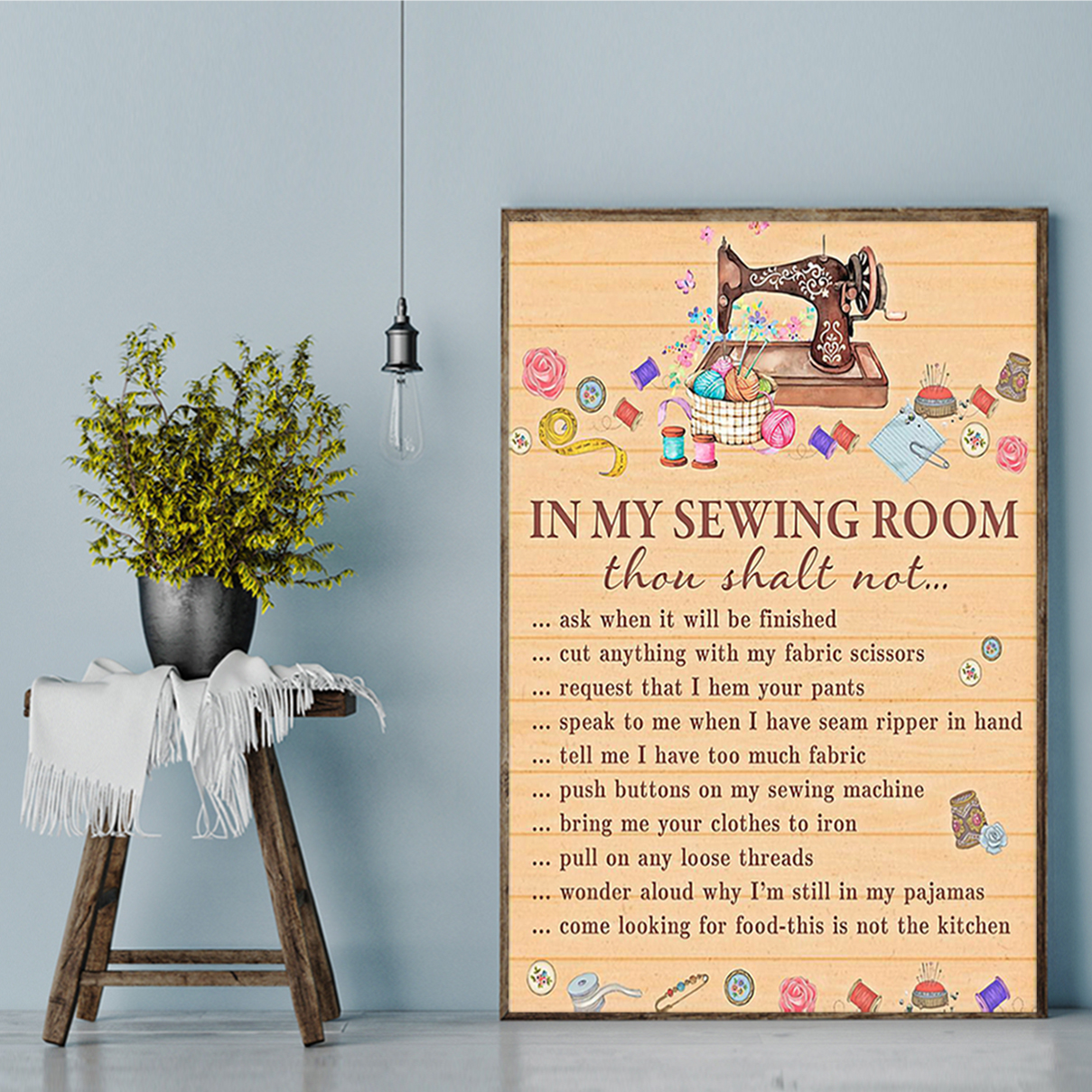 In my sewing room thou shalt not poster A1