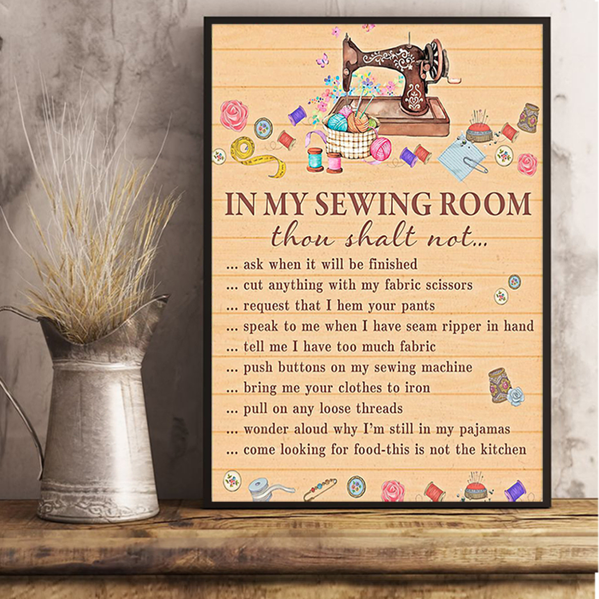In my sewing room thou shalt not poster A2