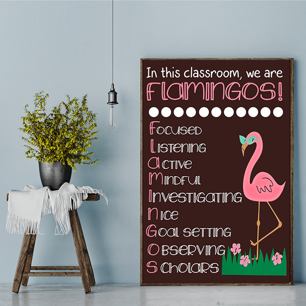 In this classroom we are flamingos poster A1