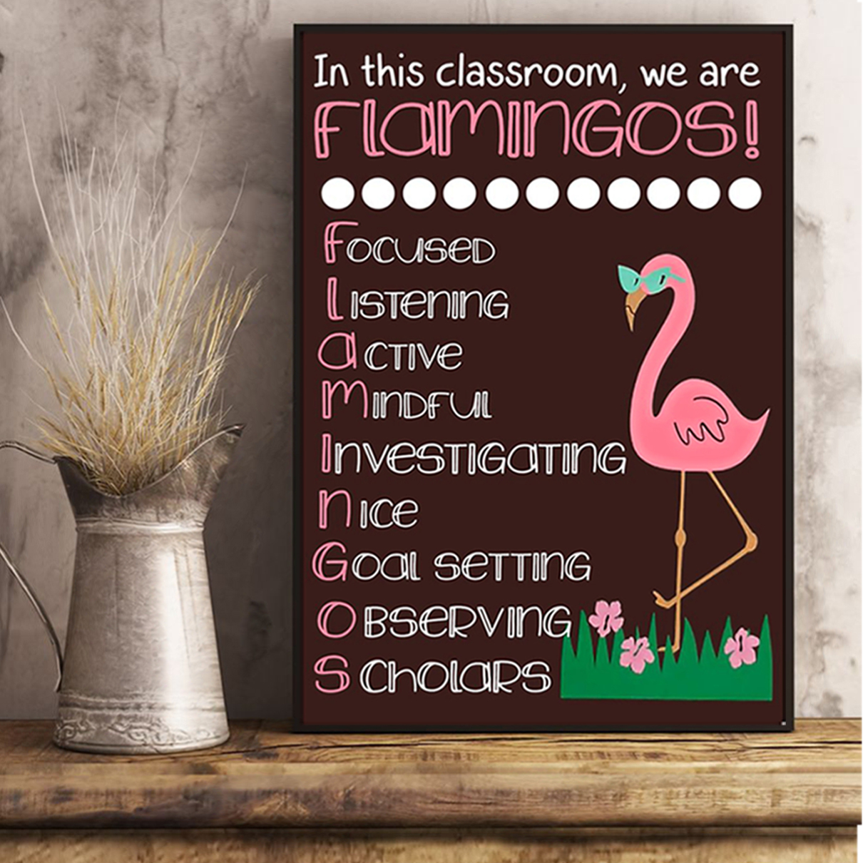 In this classroom we are flamingos poster A2