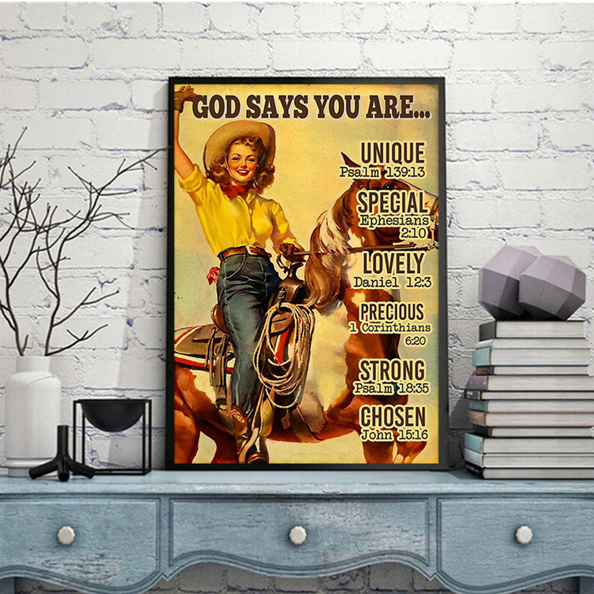 Lady and horse god says you are poster A1