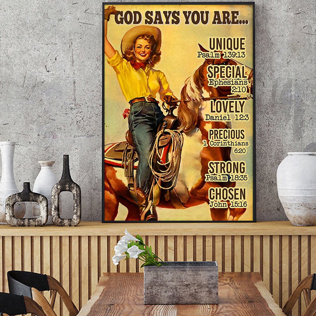 Lady and horse god says you are poster A3