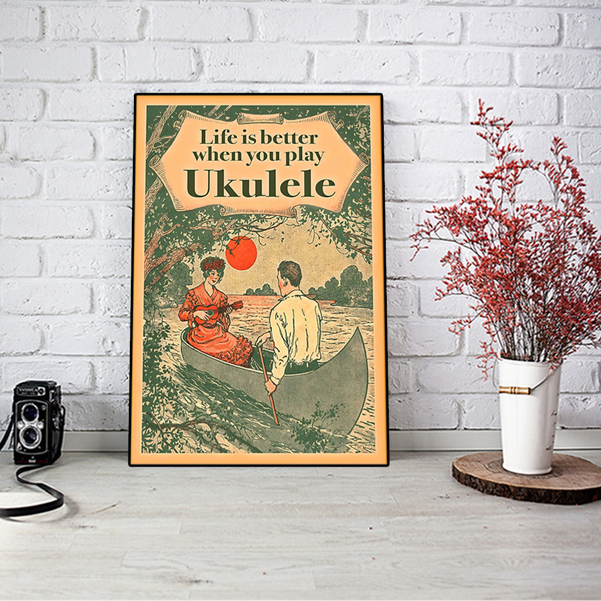 Life is better when you play ukulele poster A1