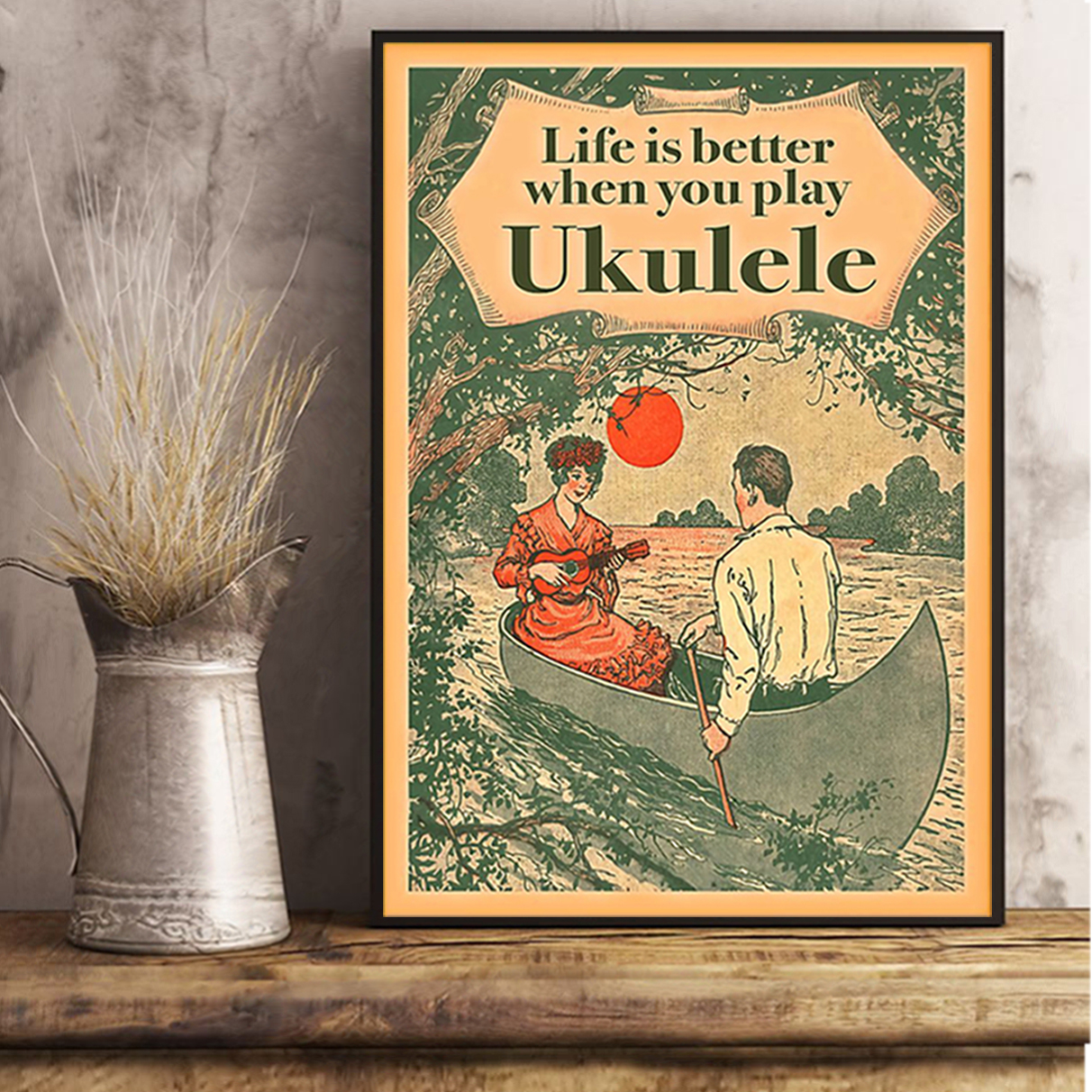 Life is better when you play ukulele poster A3