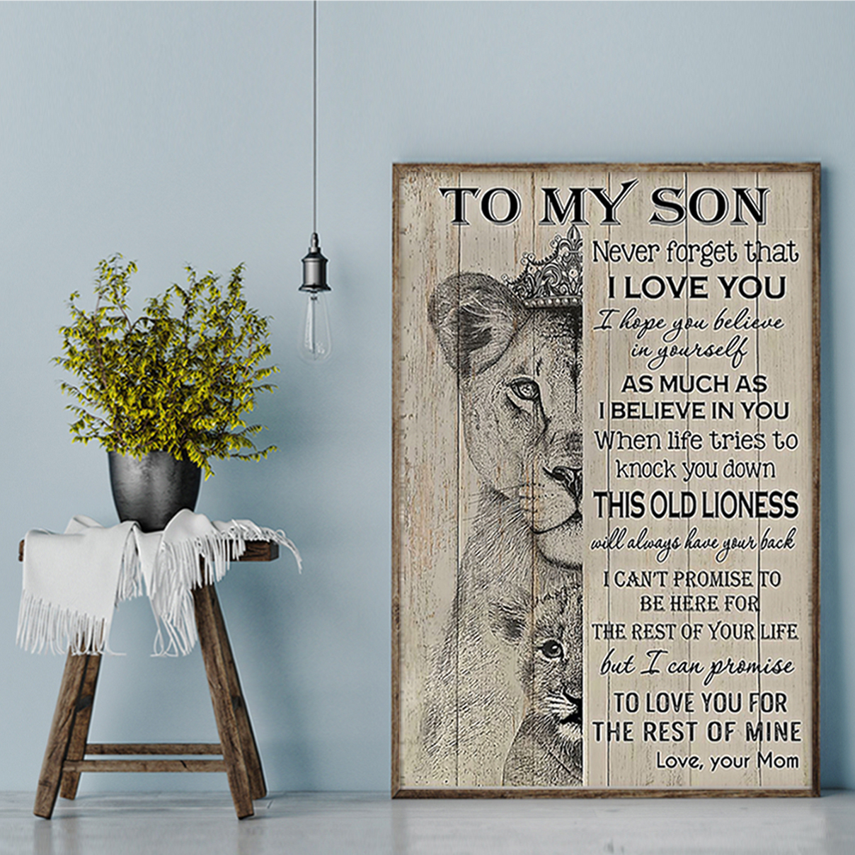 Lion mom to my son your poster A1