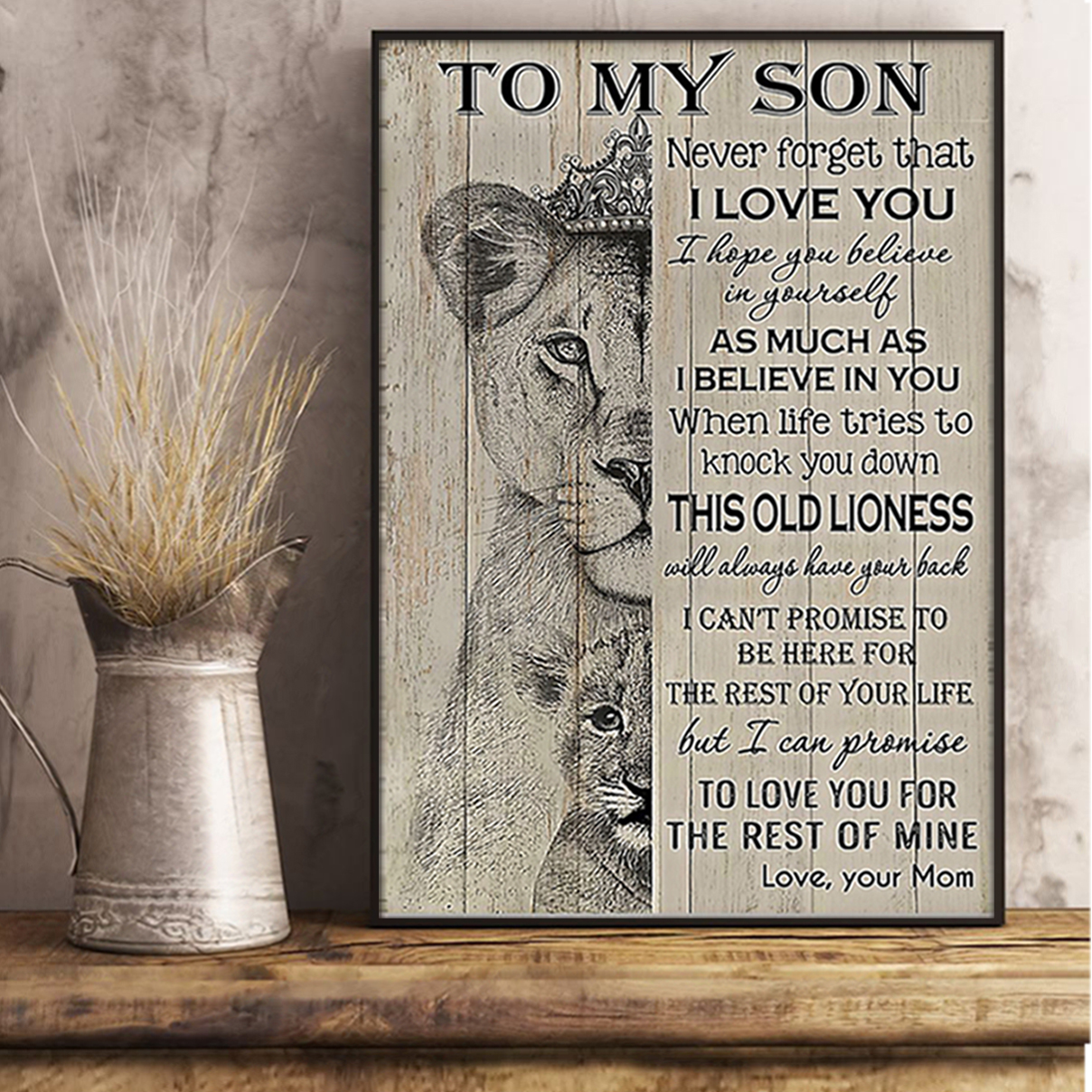 Lion mom to my son your poster A2