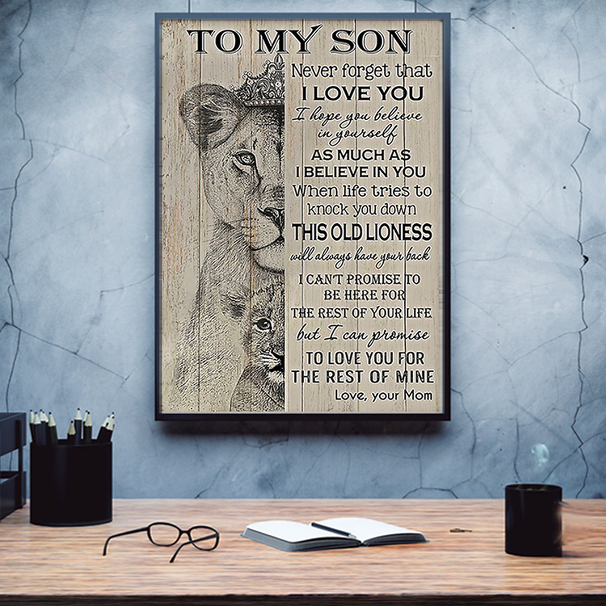 Lion to my son mom poster A1