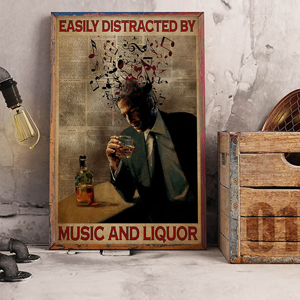 Man easily distracted by music and liquor poster A2