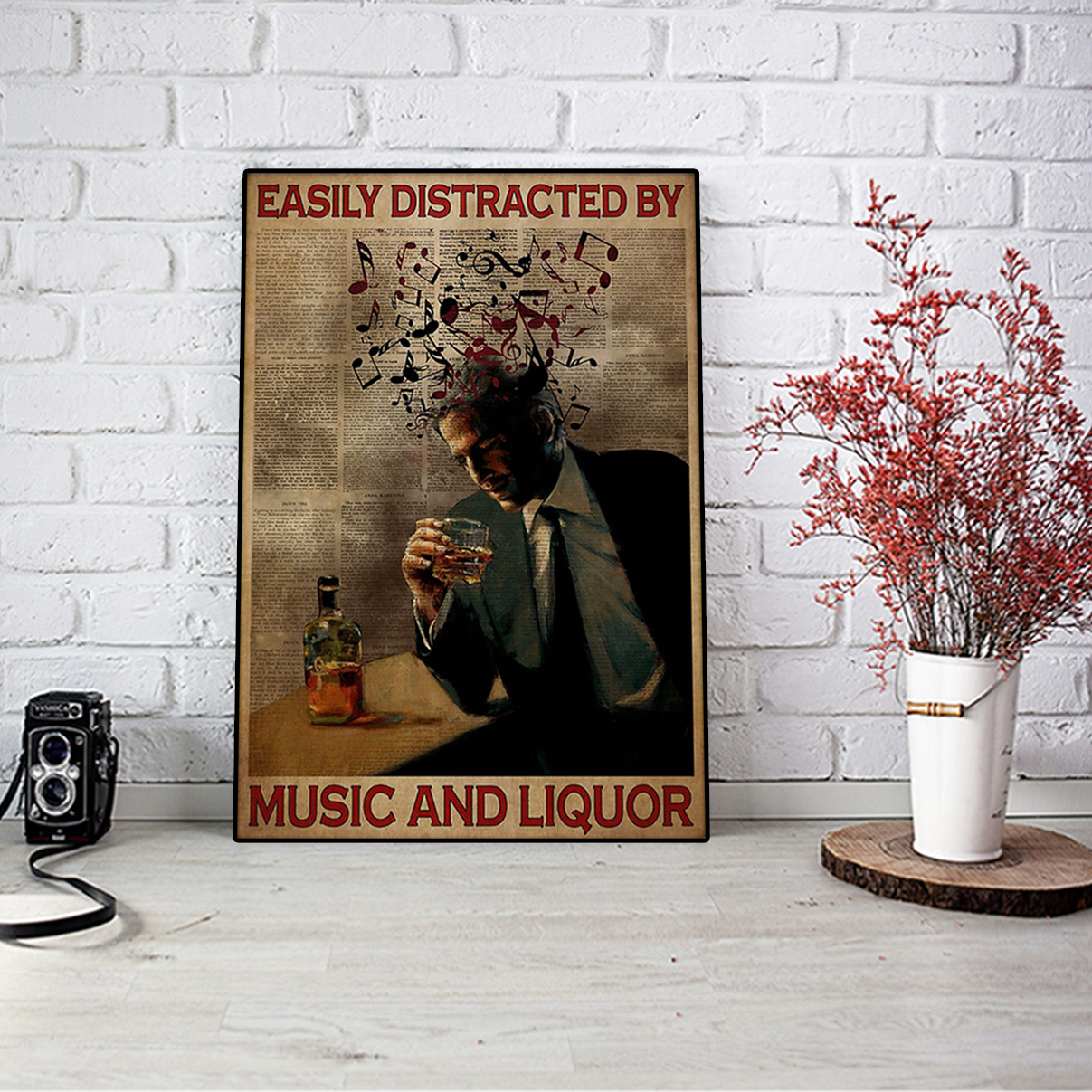 Man easily distracted by music and liquor poster A3
