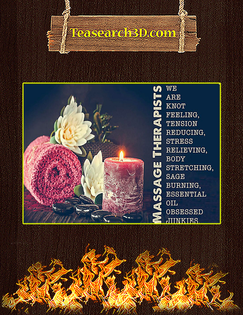 Massage therapist stress relieving we are knot feeling poster