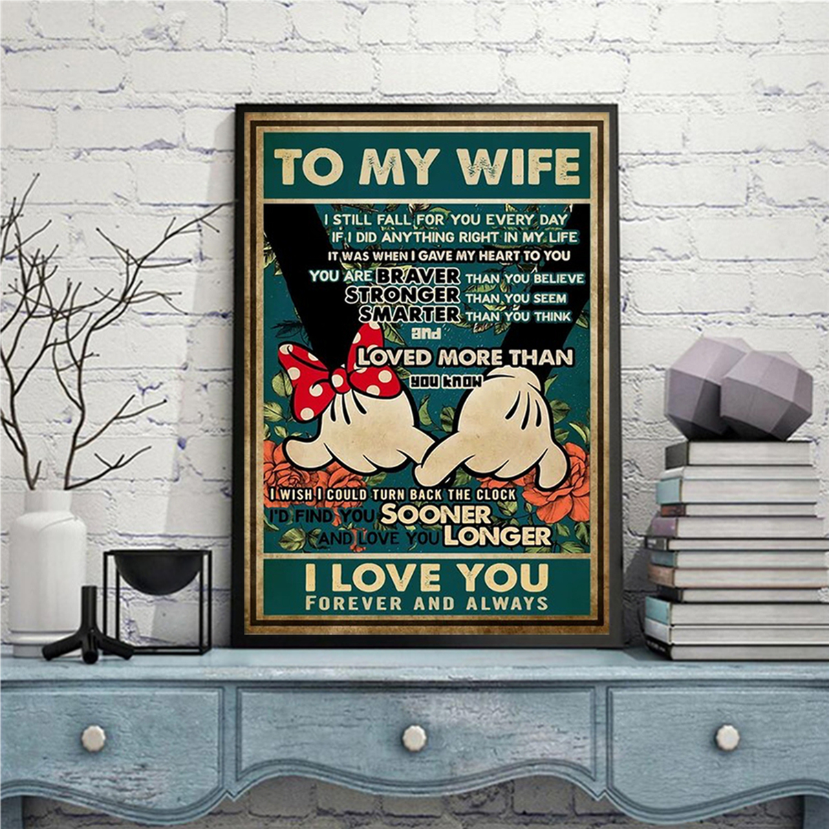 Mickey minnie promise to my wife I love you poster A2