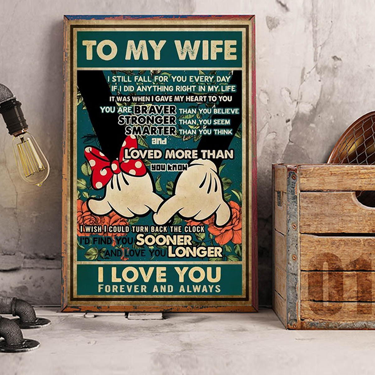 Mickey minnie promise to my wife I love you poster A3