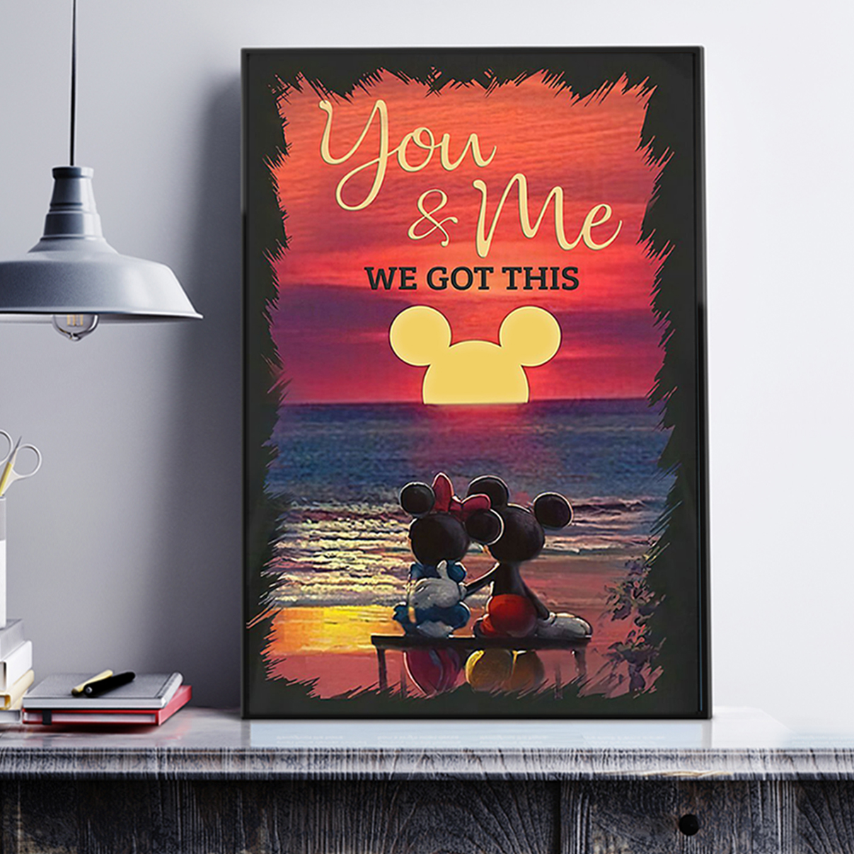 Mickey minnie sunset beach you and me we got this poster A2
