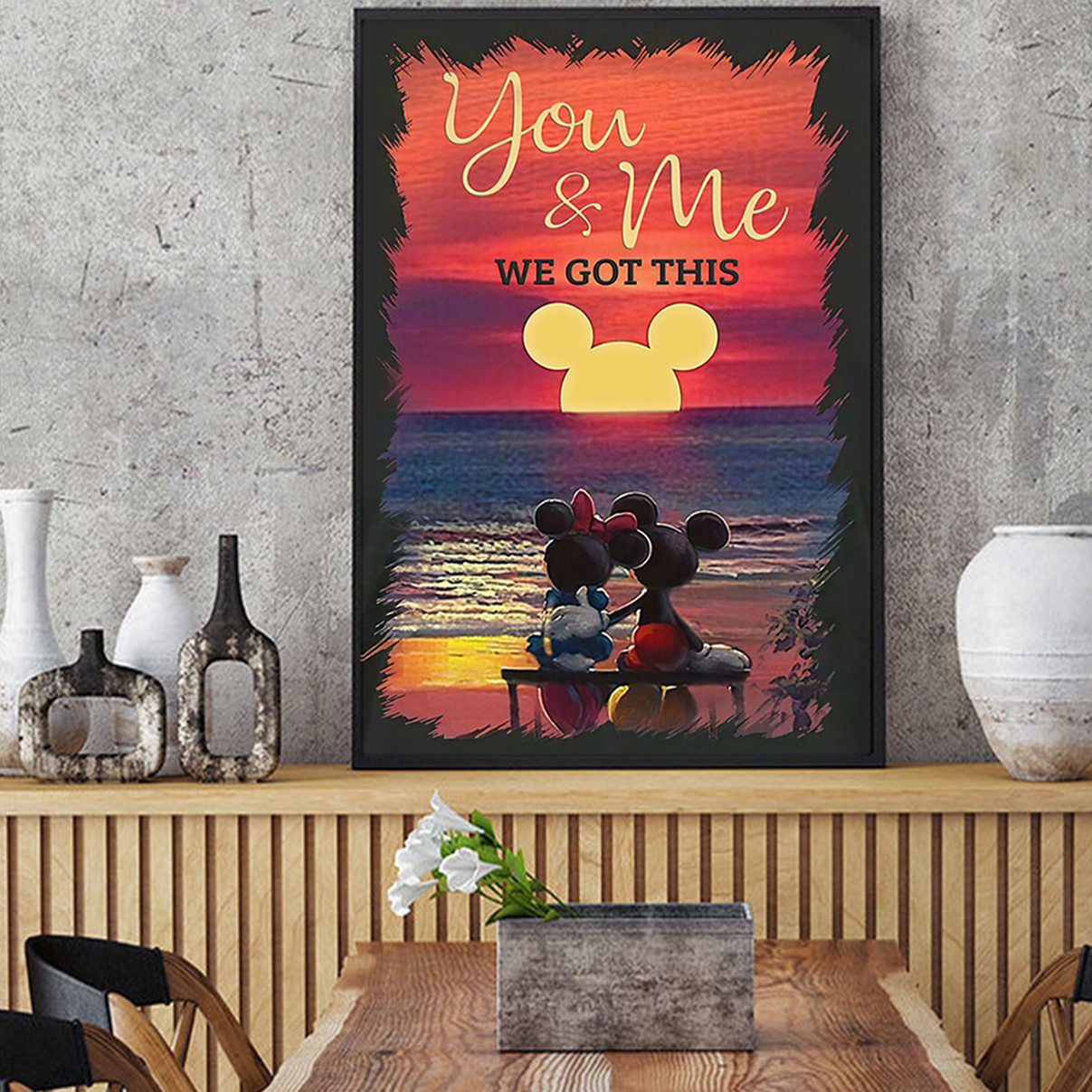 Mickey minnie sunset beach you and me we got this poster A3