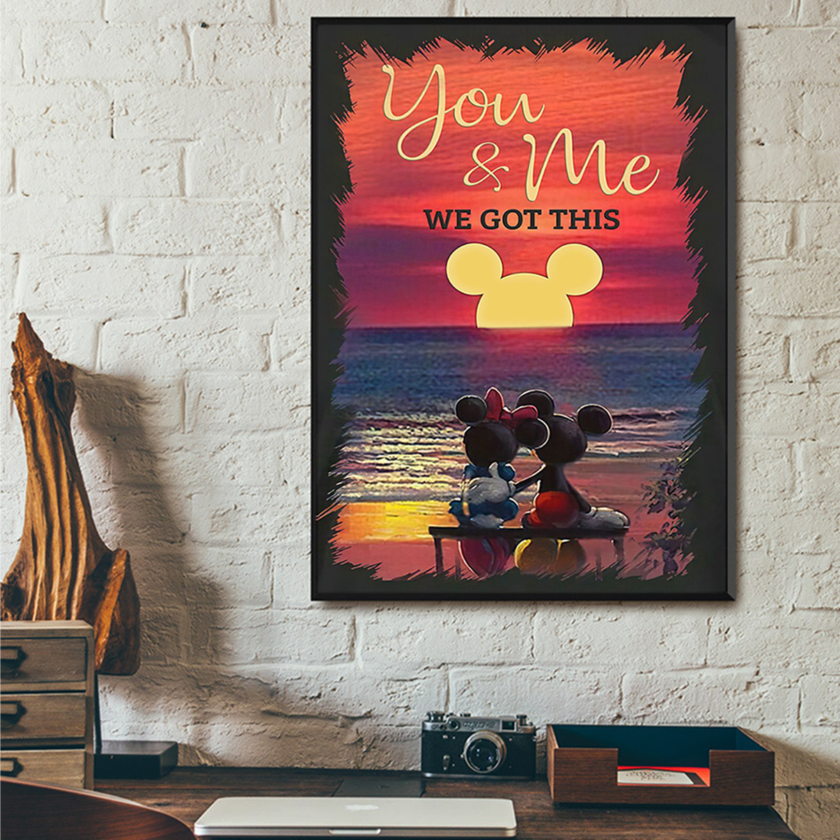 Mickey mouse and minnie mouse sunset beach you and me we got this poster A2