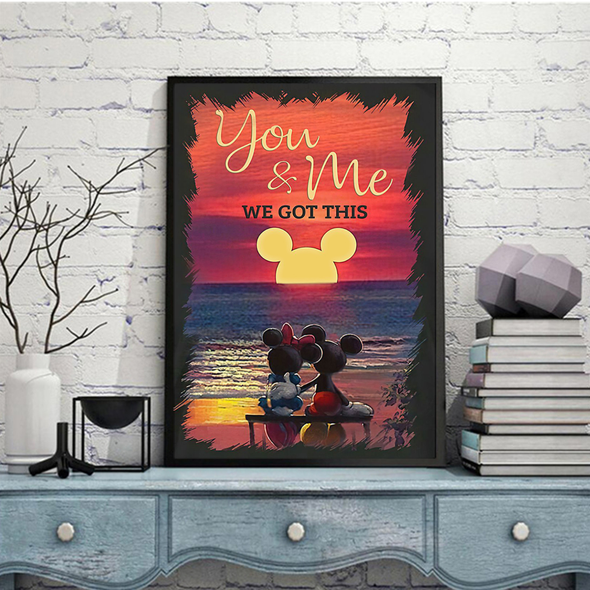 Mickey mouse and minnie mouse sunset beach you and me we got this poster A3