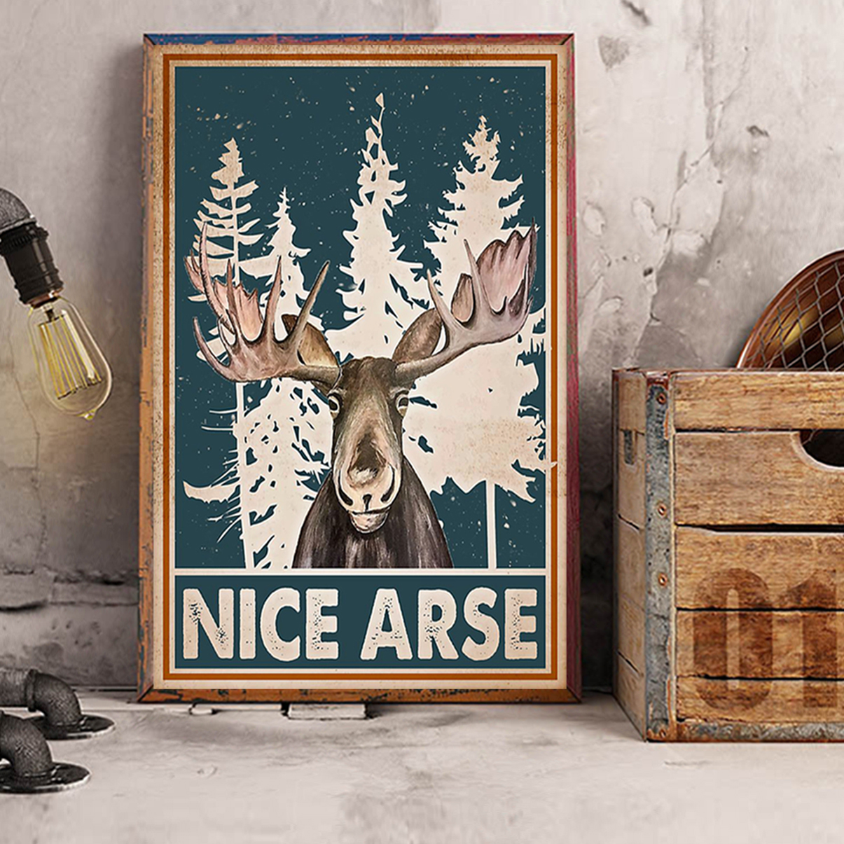Moose funny toilet nice arse smirking poster A2