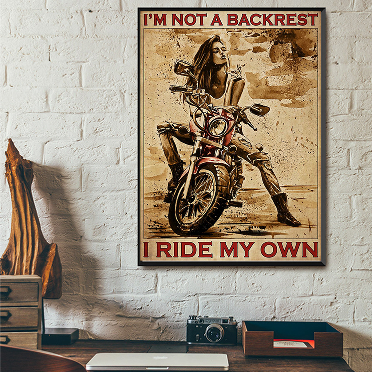 Motorcycle girl I'm not backrest I ride my own poster A1