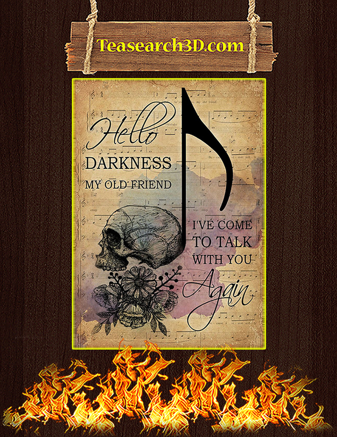 Music sheet hello darkness my old friend skull poster A3