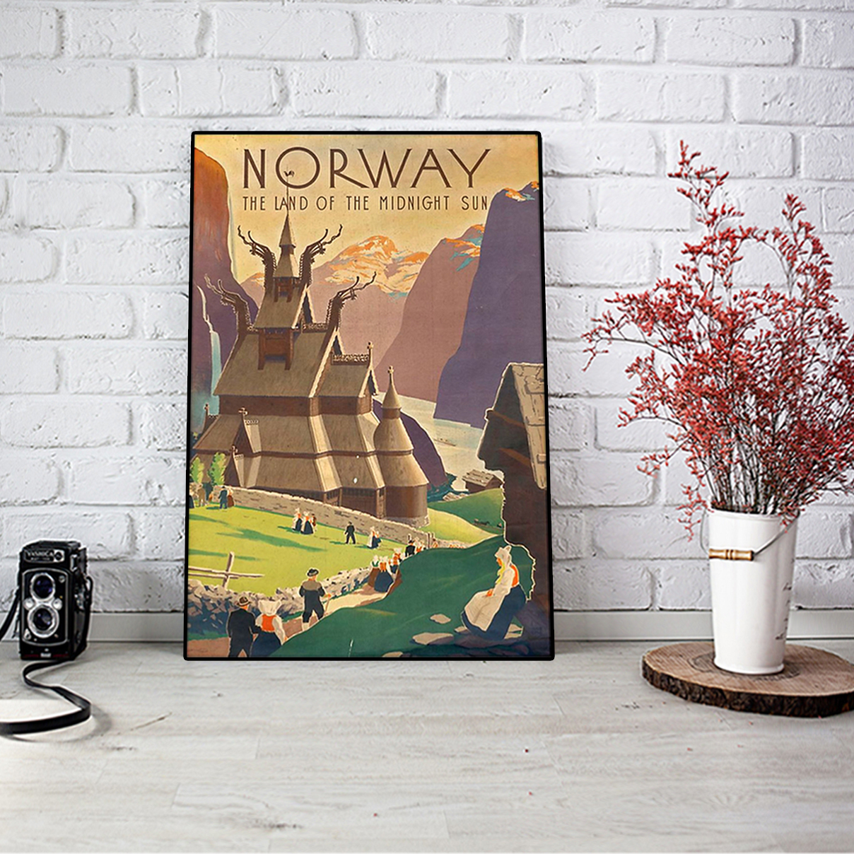 Norway the land of the midnight sun poster A3