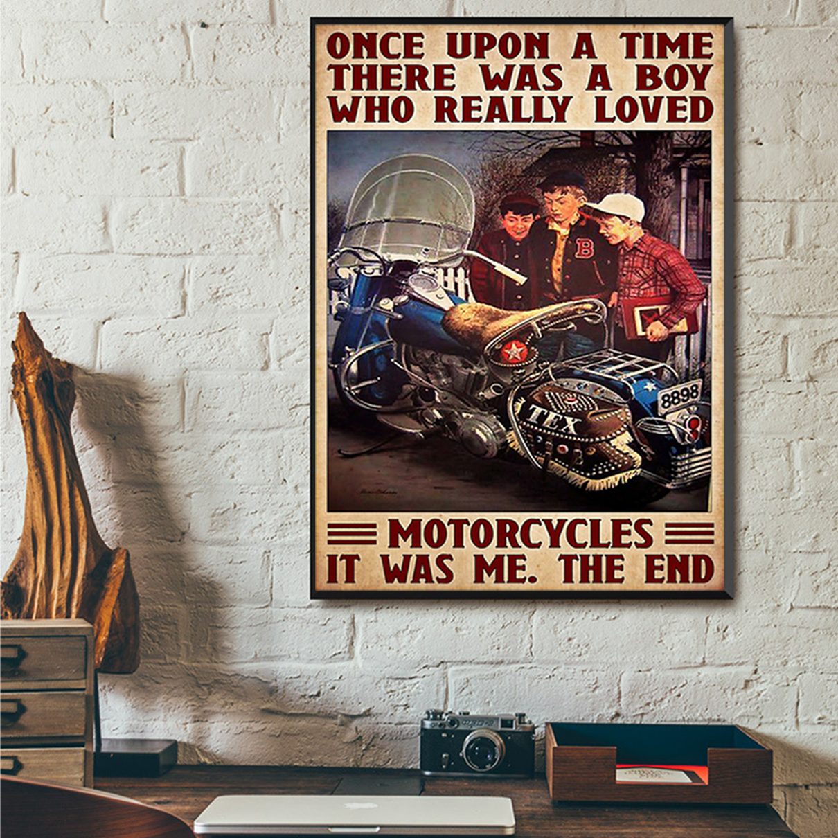 Once upon a time there was a boy who really loved motorcycles poster A3