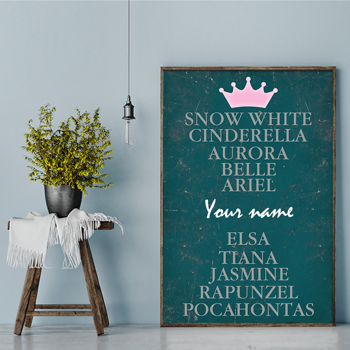 Personalized snow white cinderella aurora belie ariel poster A2