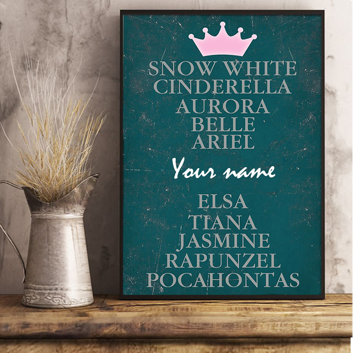 Personalized snow white cinderella aurora belie ariel poster A3