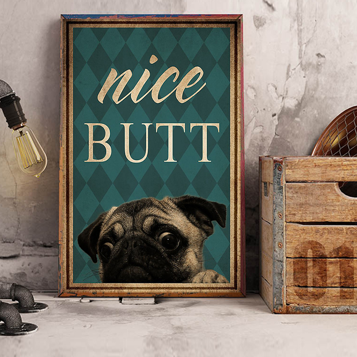 Pug nice butt poster A3