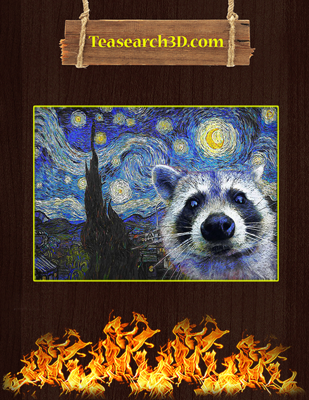 Racoon starry night van gogh poster A1